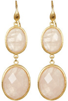 Rivka Friedman 18K Gold Clad Graduated Faceted Oval Rose Quartz Double Dangle Earrings