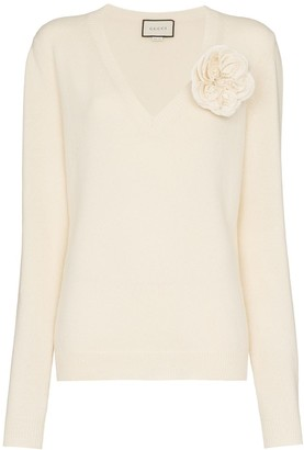 Gucci Flower Applique Cashmere Sweater