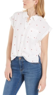 Style&Co. Style & Co Watermelon-Print Camp Shirt, Created for Macy's