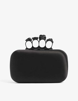 Alexander McQueen Skull-embellished knuckleduster silk box clutch bag