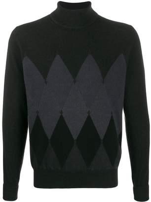 Ballantyne Argyle knit roll neck jumper