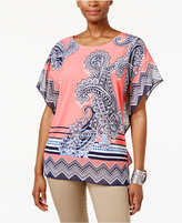JM Collection Printed Flutter-Sleeve Tunic, Only at Macy's