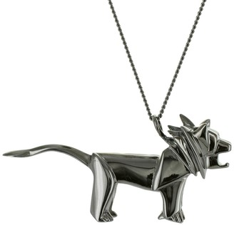 Origami Jewellery Lion Necklace Black Silver