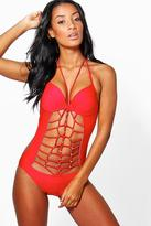 Boohoo Rome Strappy Cut Out Swimsuit