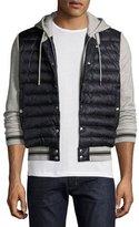 Moncler Varsity-Stripe Puffer Zip-Front Sweatshirt, Gray