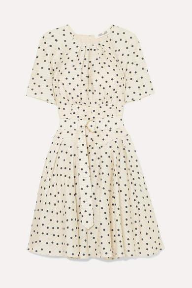 Diane von Furstenberg Belted Polka-dot Silk Dress - Cream