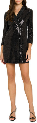 ENGLISH FACTORY Holiday Sequin Faux-Wrap Dress