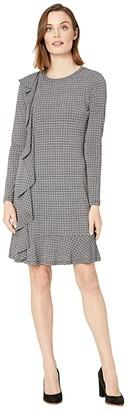 MICHAEL Michael Kors Check Ruffle Long Sleeve Dress (White) Women's Dress