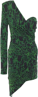 Alexandre Vauthier One-shoulder Gathered Leopard-print Stretch-jersey Mini Dress