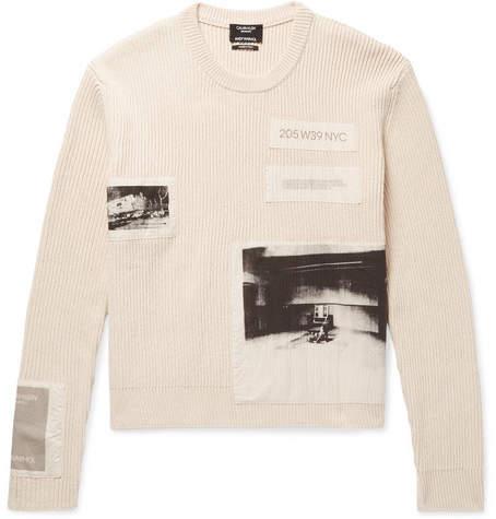 Calvin Klein Andy Warhol Appliquéd Ribbed Cotton Sweater