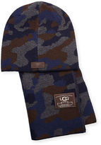 UGG Men's Camouflage Wool-Blend Scarf & Beanie Hat Set