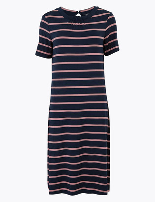 Marks and Spencer Jersey Striped Knee Length Swing Dress