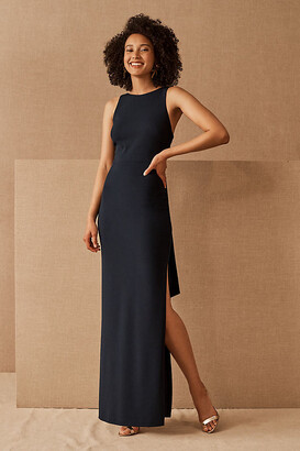 BHLDN London Crepe Tie-Back Dress By in Blue Size 16