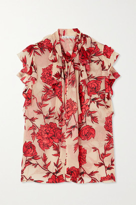 Alice + Olivia Robbie Pussy-bow Appliqued Chiffon Blouse - Red