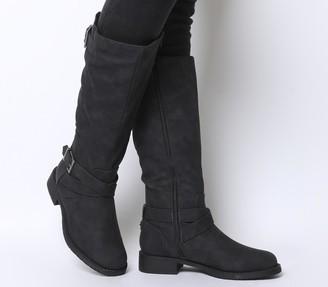 Office Kamel Biker Knee Boots Black Fur Lined