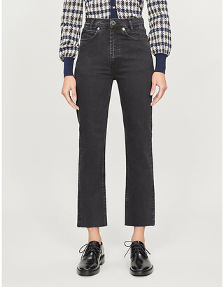 Sandro Jayn cropped straight-leg high-rise stretch-denim jeans