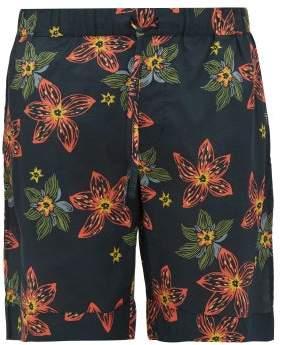 Desmond & Dempsey Arantza Floral Print Cotton Pyjama Shorts - Mens - Navy Multi