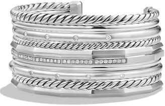 David Yurman 'Stax' Wide Cuff Bracelet with Diamonds
