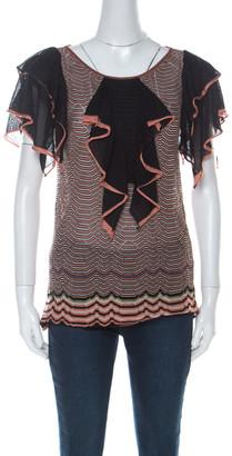 M Missoni Multicolor Wave Knit Ruffle Detail Short Sleeve Top S