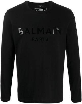 Balmain logo-print long-sleeve T-shirt