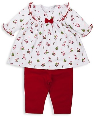 Kissy Kissy Baby Girl's Here Comes Santa Claus Two-Piece Dress & Leggings Set