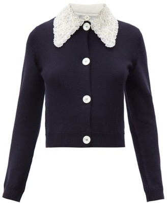 Miu Miu Lace-collar Wool-knit Cardigan - Navy