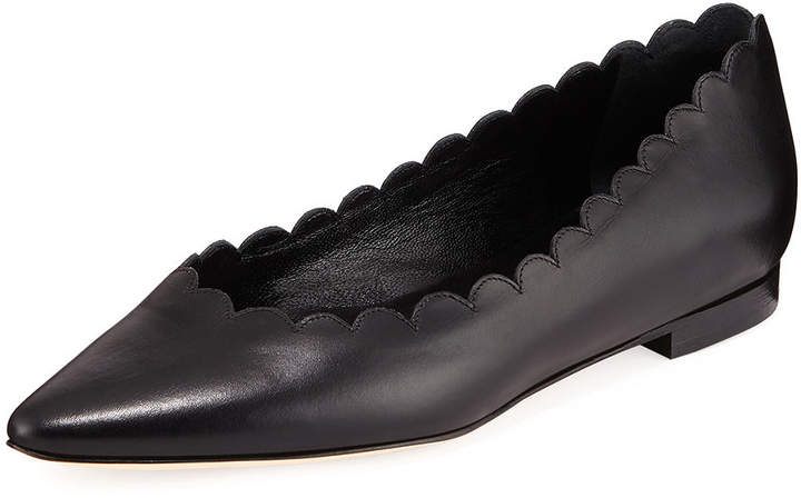 Manolo Blahnik Srilas Scalloped Leather Flat