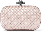 Bottega Veneta The Knot Watersnake-trimmed Intrecciato Satin Clutch - Pastel pink
