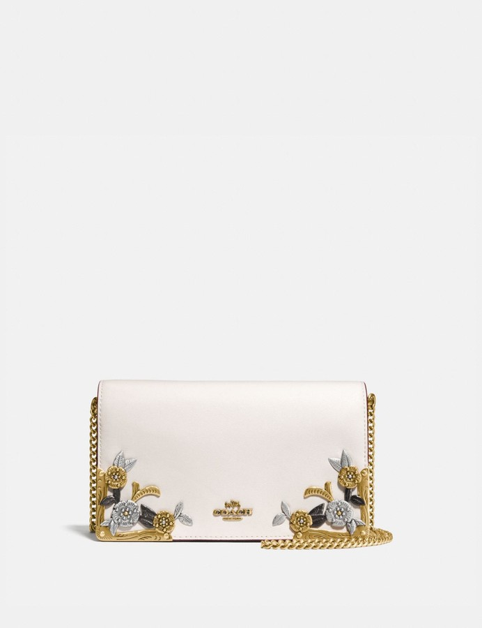 758fafdf8f Callie Foldover Chain Clutch With Metal Tea Rose