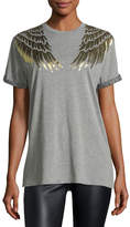 RED Valentino Cotton T-Shirt w/ Lamé; Wing Detail