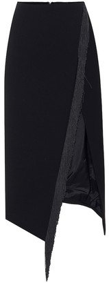 David Koma Fringed wool-crepe skirt