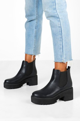 boohoo Chunky Platform Cleated Chelsea Boots