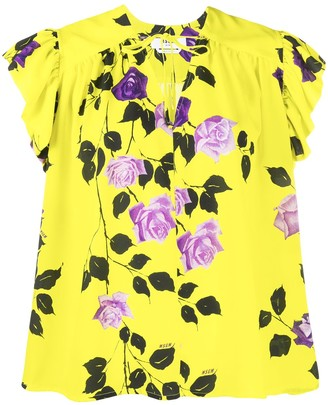MSGM rose print ruffle T-shirt