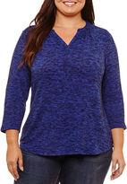 Liz Claiborne 3/4 Sleeve Split Crew Neck T-Shirt-Womens Plus