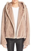 Helmut Lang Faux Fur Hooded Coat