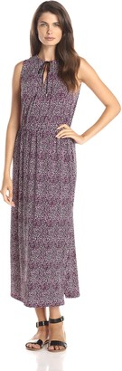 Chaus Women's Sleeveless Tie Neck Cobblestone Dots Maxi Dress