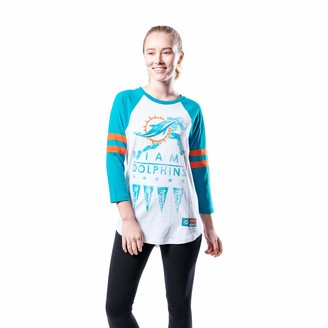 Ultra Game NFL Miami Dolphins Womenss Running Game 3/4 Long Sleeve Tee Shirt