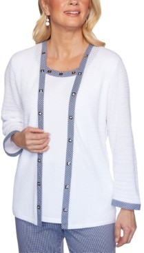 Alfred Dunner Petite Easy Street Embellished Layered-Look Sweater