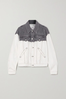 Givenchy Embroidered Tie-dyed Denim Jacket - White