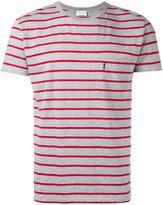 Saint Laurent logo embroidered striped T-shirt - men - Cotton - S