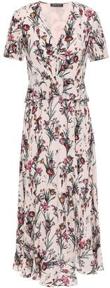 Markus Lupfer Elodie Floral-print Crepe Peplum Midi Dress