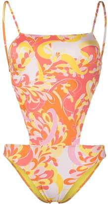 Emilio Pucci Abstract-Print Cut-Out One-Piece Swimsuit