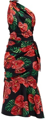 Dolce & Gabbana Halterneck Floral-print Silk-blend Midi Dress - Red Multi