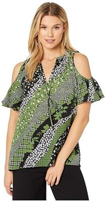 MICHAEL Michael Kors Cold-Shoulder Top (Evergreen) Women's Clothing