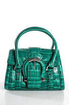 Karen Millen Green Embossed Leather Small Satchel Handbag