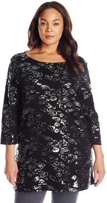 Joan Vass Women's Plus-Size 3/4 Sleeve Sequin Tunic