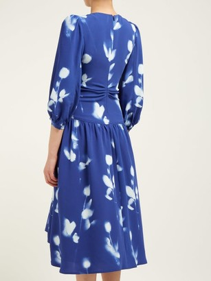 Proenza Schouler Rose-print V-neck Crepe Dress - Blue Multi