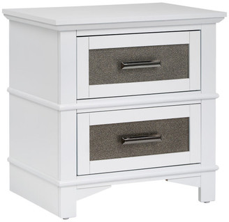 Progressive Furniture Dazzle Nightstand, White and Pewter