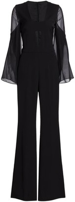 Akris Deep V-Neck Silk Crepe Jumpsuit
