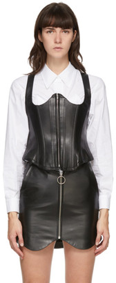 pushBUTTON SSENSE Exclusive Black Leather Bustier Camisole